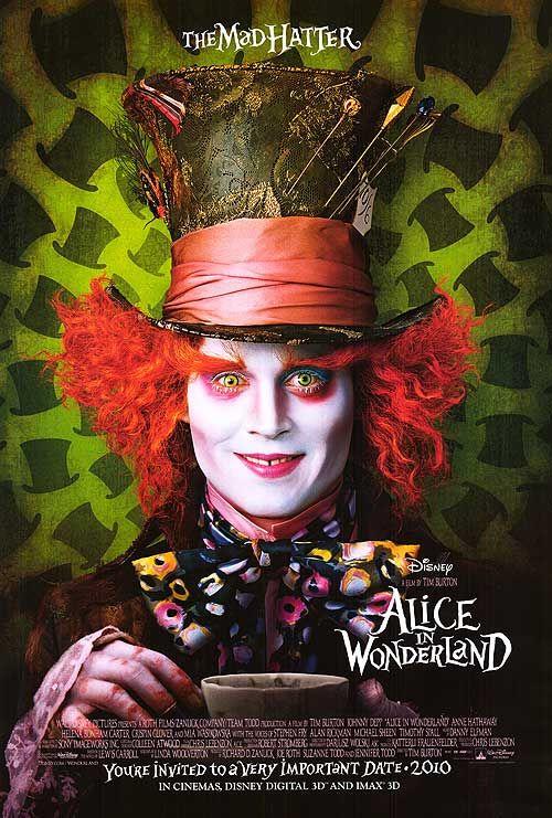 ALICE IN WONDERLANDMovie Posters, Johnny Depp, Mad Hatters, Alice In Wonderland, The Muppets, Tim Burton, Favorite Movie, Helena Bonham Carter, Aliceinwonderland