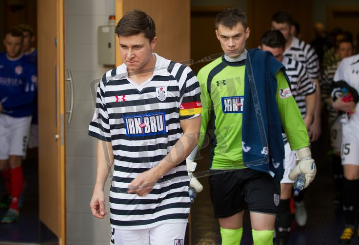 Queen's Park's captain Sean Burns leads his side out before the SPFL League One play off game between Queen's Park and Cowdenbeath.