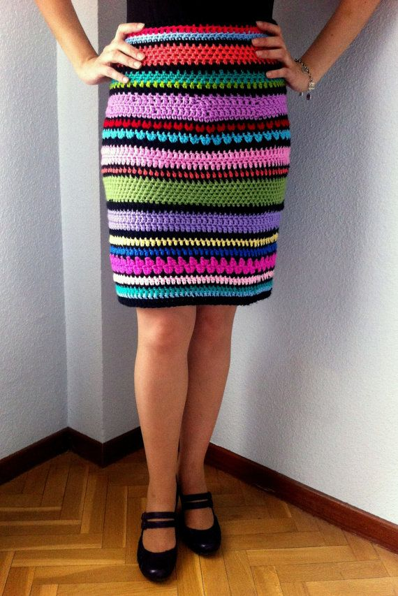 Crochet Multicolor Striped Tube Skirt  One of a kind  by COSIMITAS, €139.00