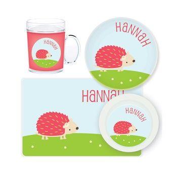 Hedgehog Personalised Kids Mealtime Set $32.95 - $39.95 #sweetcreations #baby #toddlers #kids #personalised