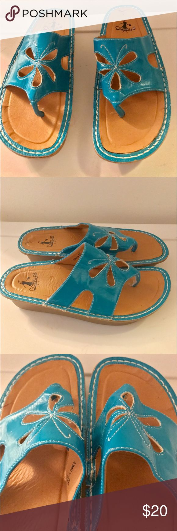 Corkys Turquoise Sandals Turquoise flower thong sandals size 7 Corkys Shoes Sandals