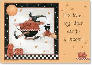 Halloween Card Car is a Broom