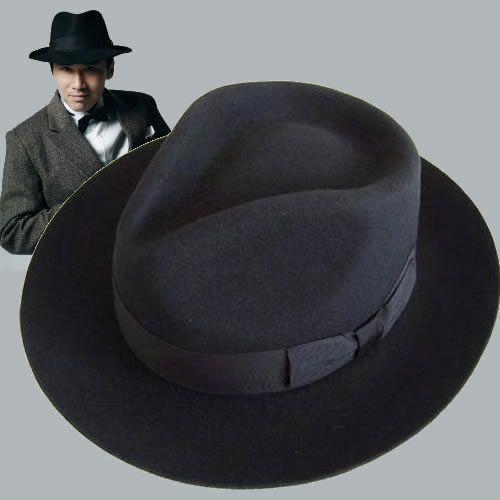 Black Wool Mens Winter Dress Fedora Hats for Men Sale SKU-159013