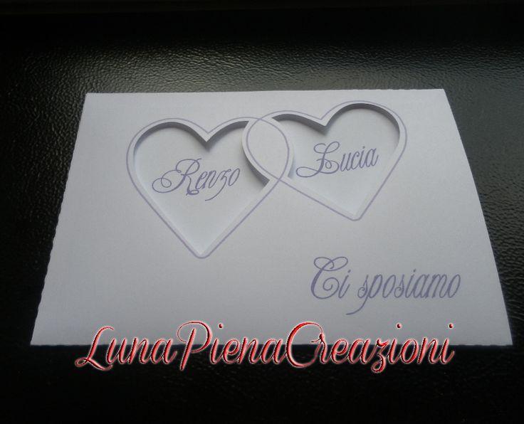 Partecipazione di matrimonio Cuori intagliati con Nome, Slide Invitation. Personalizzabile By LunaPienaCreazioni https://www.facebook.com/matrimoniobylunapienacreazioni/ http://lunapienacreazioni.blogspot.it/