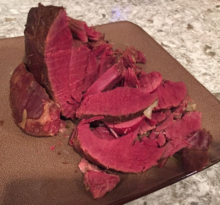 Sodium Nitrite, a.k.a. Instacure #1 is what gives your corned beef (or in this case corned venison) that nice red color.