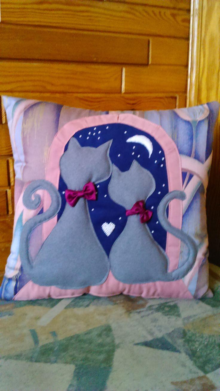 Cats again :) Romantic... Appliqued. Handmade by Alina Wodzińska