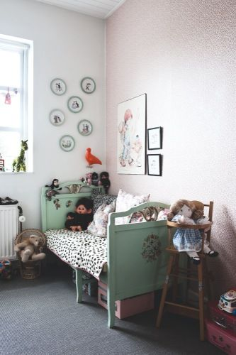 the boo and the boy: eclectic kids' rooms. embroidered wall hangings. each has a letter to spell their name.