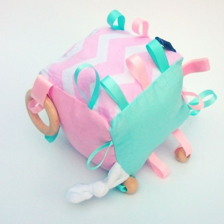 BABY PINK AND MINT  CHEVRON COGNITIVE ACTIVITY CUBE WOODEN RING TEETHER TEETHING CHEW GUM RELIEF BABY INFANT NEWBORN TAG TAGGY RIBBON TOY SOFT WOODEN BEADS ACTIVITY SENSORY CRINKLE SOUND BELL RATTLE TOY KAWAIIDEZIGNS