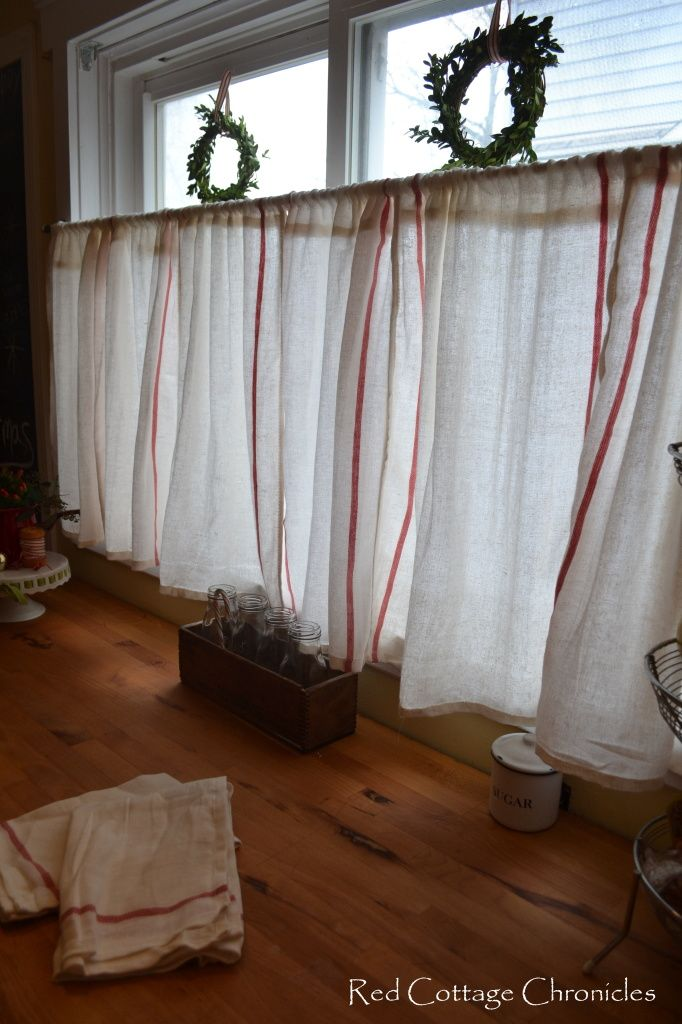 red stripe dish towels for kitchen curtains