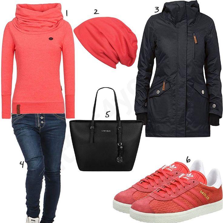 Rosa-Rotes Damen-Outfit mit schwarzem Berydale Parka (w0701) #naketano #adidas #berydale #outfit #style #fashion #womensfashion #womensstyle #womenswear #clothing #frauenmode #damenmode #handtasche #inspiration #frauenoutfit #damenoutfit