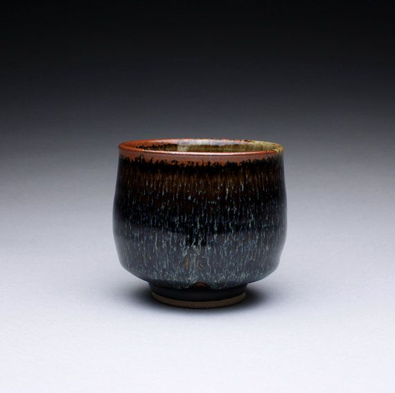 cup yunomi teacup with black brown tenmoku by rmoralespottery,
