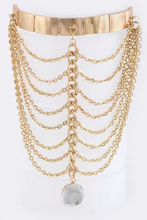 Upper Arm Cuff Gold  Arm Bracelet  With Layered Drop by 4YJD, $15.00