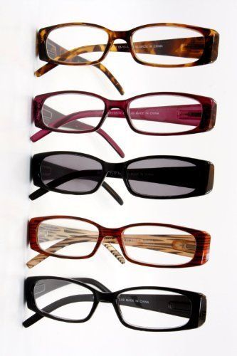 spring hinge plastic reading glasses 5 pairs includes sunglass readers 150