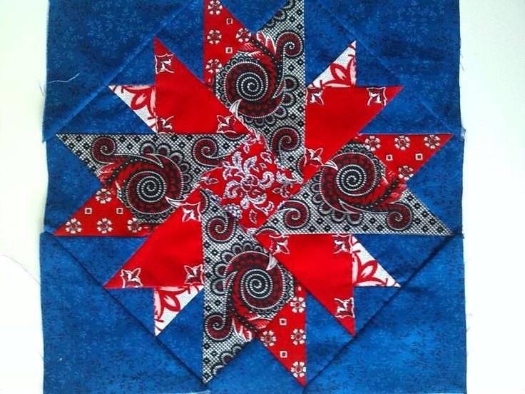 Ster van rode zakdoeken voor een quilt