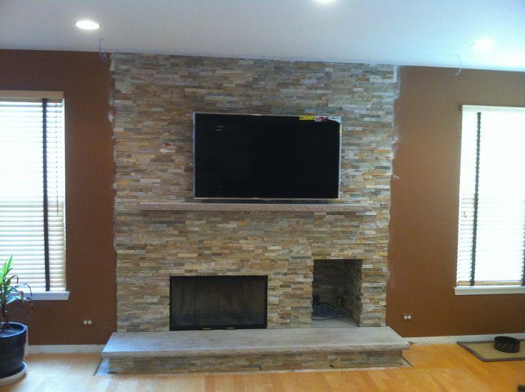 Modern Wood Burning Fireplace Rock Face Limestone Hearth Limestone Mantel Used To Deflect Heat