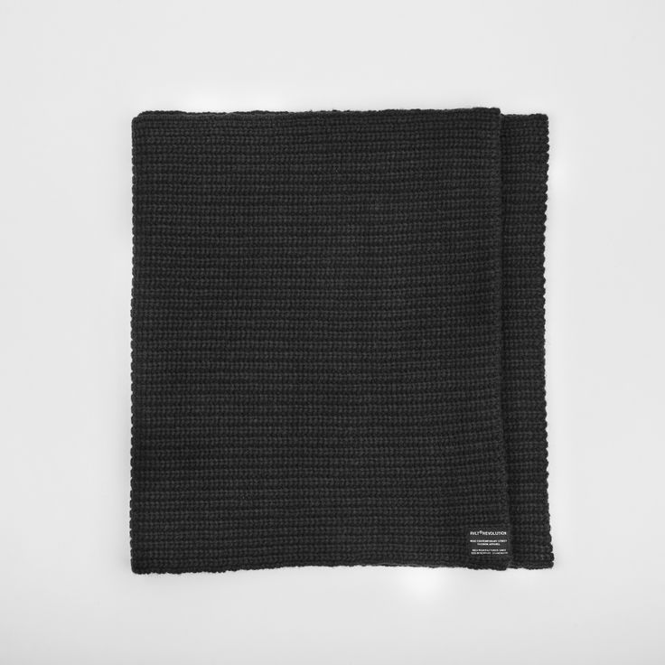 RVLT - men's fashion. Black heavy wool blend snood with knitted pattern to add detail, has the RVLT brand label.