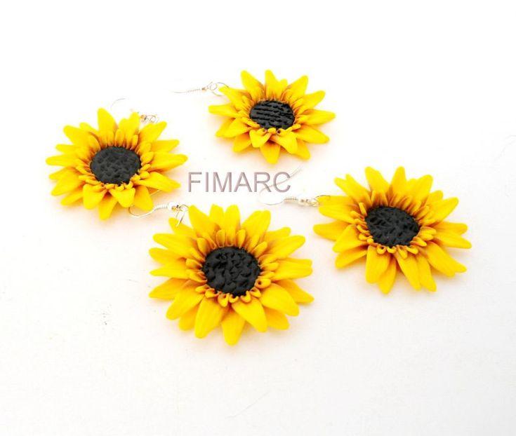 Floarea Soarelui - cercei atarnatori