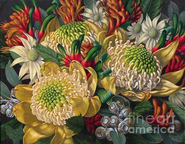 "'White Waratahs and Flannel Flowers' by Fiona Craig, oil on canvas 42"" x 54"". Original painting and prints available for sale. See also www.fionacraig.com"