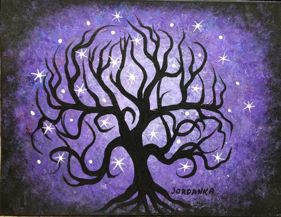 Original Acrylic painting Curly purple TREE stars by by treeartist