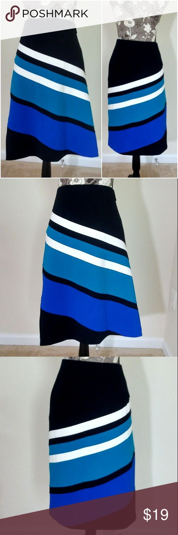 """LANE BRYANT Pencil Skirt LANE BRYANT Pencil Skirt   Women's Plus Size 22  Black Blue and White Swirl Geometric Design Zip Closure Great Career Piece For All Seasons  Approx Meas:  (Lying Flat) Waist 21"""" / Hips 25"""" / Width at Hemline 24"""" / Length 24"""" from top of waistband  (See my other Lane Bryant Polka Dot Skirt in Same Sz.)  SMOKE FREE HOME Lane Bryant Skirts Pencil"""