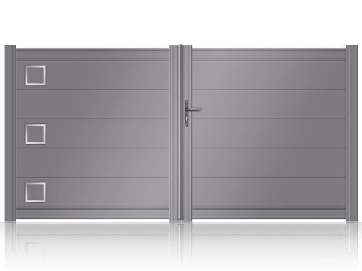 Portail aluminium battant à lames larges et décors inox modèle NANCY