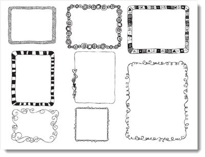I found these cute doodle borders online a while back...they make a cute border for booklets, signs, nametags, labels...the possibilities are endless! Download them here, resize and use to make everything cute!