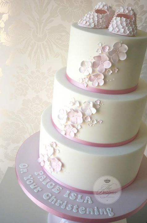 Soft Pink Tiny Flowers Booties Christening Cake
