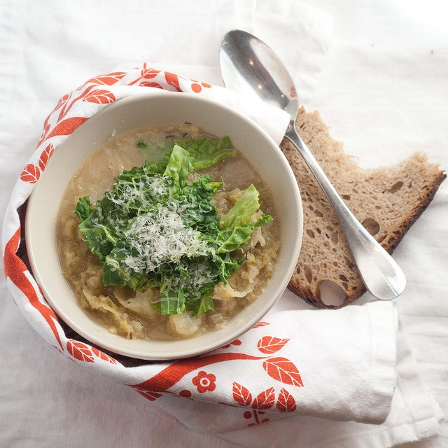 Savoy Cabbage and Parmesan Rind Soup - simple rainy day meal