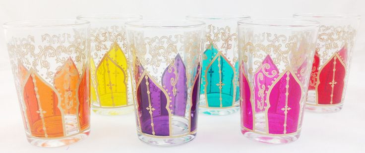 SOLD OUT Moroccan Tea Glasses are perfect for more than a beverage, perfect for festive tealights or small vases lined up with flowers. Set of 6 for $50.00