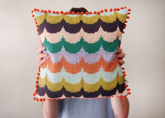 Vintage Style Printed Cushion Cover with Scalloped Stitched Pattern and Pom Pom Trim