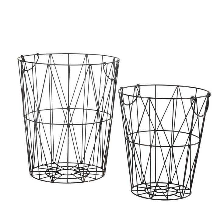 2 Metallkörbe JANET, H 41 und 50 cm, schwarz