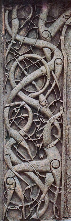 Stavkirke d'Urnes, détail de la porte.