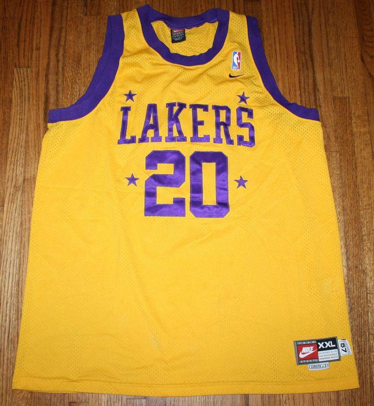 Nike L.A. Lakers NBA Throwback Jersey GARY PAYTON #20 Swingman Sewn 2XL Gold  #Nike #LosAngelesLakers