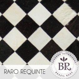 Tapete de Couro Quadriculado 10x10cm - Alcoa Xadrez Preto & Branco