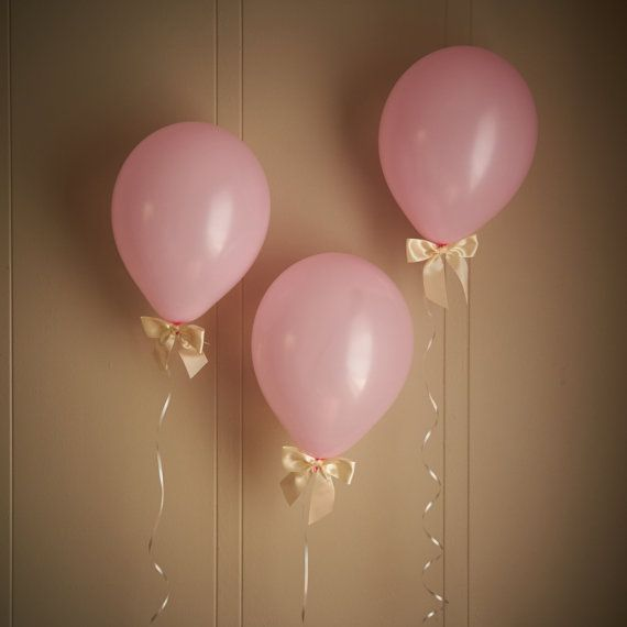 Princess Party Decorations - Baby Pink Balloons with Ivory Bows (12″) 8CT + Curling Ribbon - Baby Shower Decor