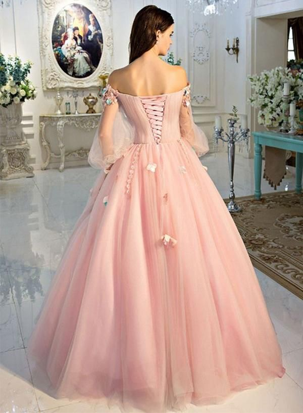 3d39b971e4c1 Long Sleeve Prom Dresses Pearl Pink Ball Gown Long Floral Fairy Prom Dress  JKL1141|Annapromdress