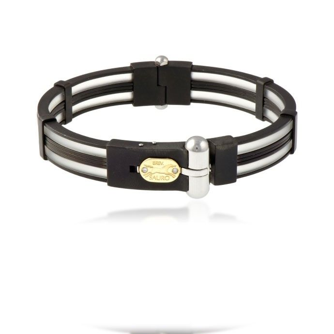 Sauro bracelet comes with 18k yellow, diamond logo, contains stainless steel, black ceramic and transparent rubber. $345.