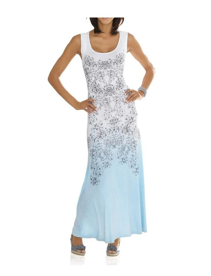 Linea Tesini  Designer-Maxikleid Sommerkleid hellblau-bunt  Gr. 44 in Kleidung & Accessoires, Damenmode, Kleider   eBay!