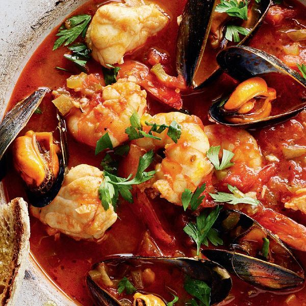 This delicious fish stew, as seen on Rick Stein's BBC series, The Road to Mexico, is an easy one-pan dish packed full of seafood and with a brilliant depth of flavour.