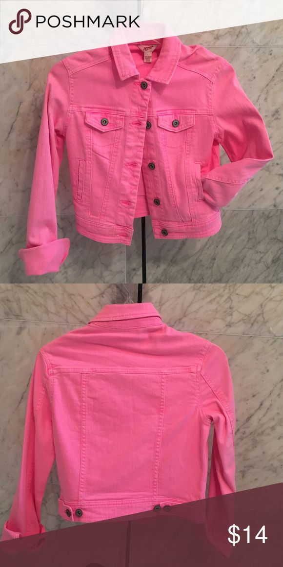 Arizona Jean Neon Pink Denim Jacket Arizona Jean, neon pink, denim jacket with 4 pocket detail. Never been worn. New with tags. Size small. Arizona Jean Company Jackets & Coats Jean Jackets