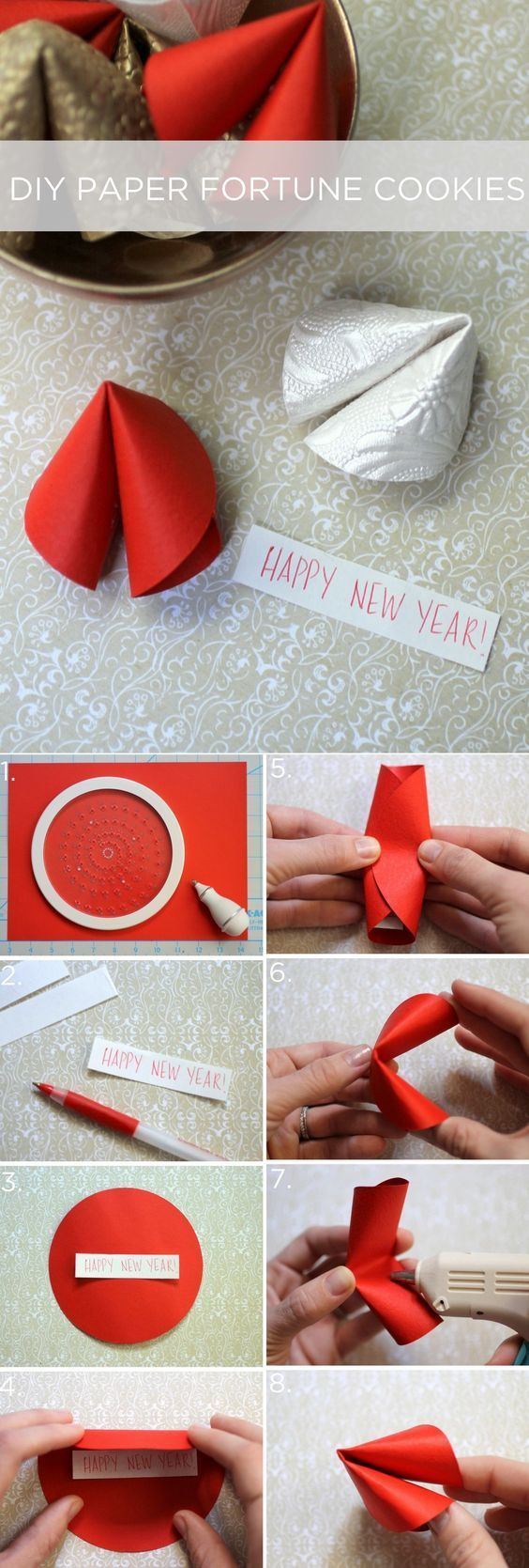 Paper fortune cookies. Valentine's Day care packages
