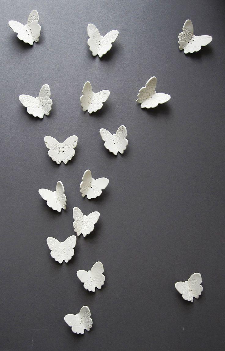 White porcelain wall art sculpture: Wall Art, Butterflies Wall, Art Sculpture, Fashion Style, Sterling Silver, Porcelain Wall, Jigsaw Puzzles, White Porcelain, Butterfly Wall