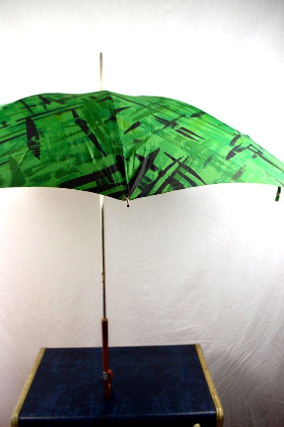 Rare Vintage 60s Green Umbrella Parasol