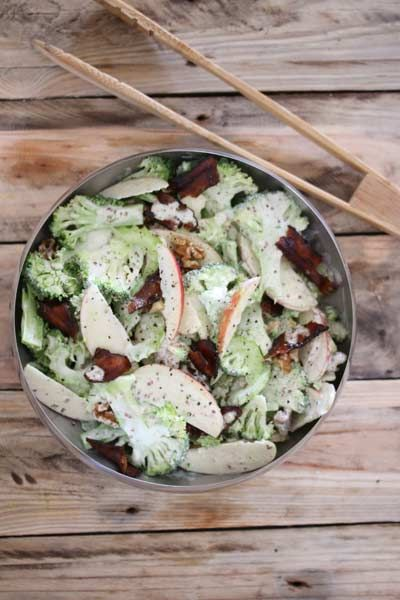 Broccoli, Apple & Walnut Salad With Candied Bacon Bits | Crus Magazine