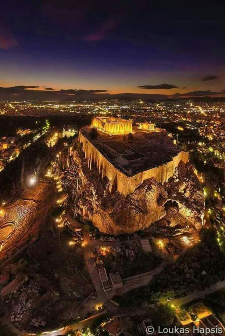 Acropolis of Athens by night.