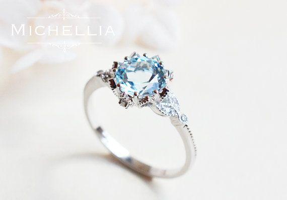 Aquamarine Floral Engagement Ring 14K 18K Gold von MichelliaDesigns