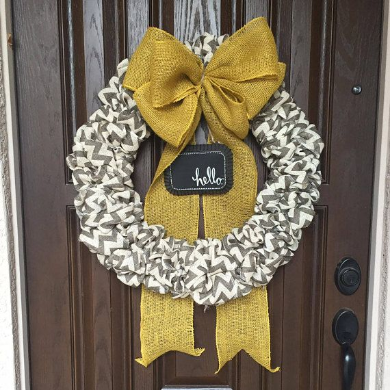 Mustard Yellow and Gray Chevron Burlap Wreath