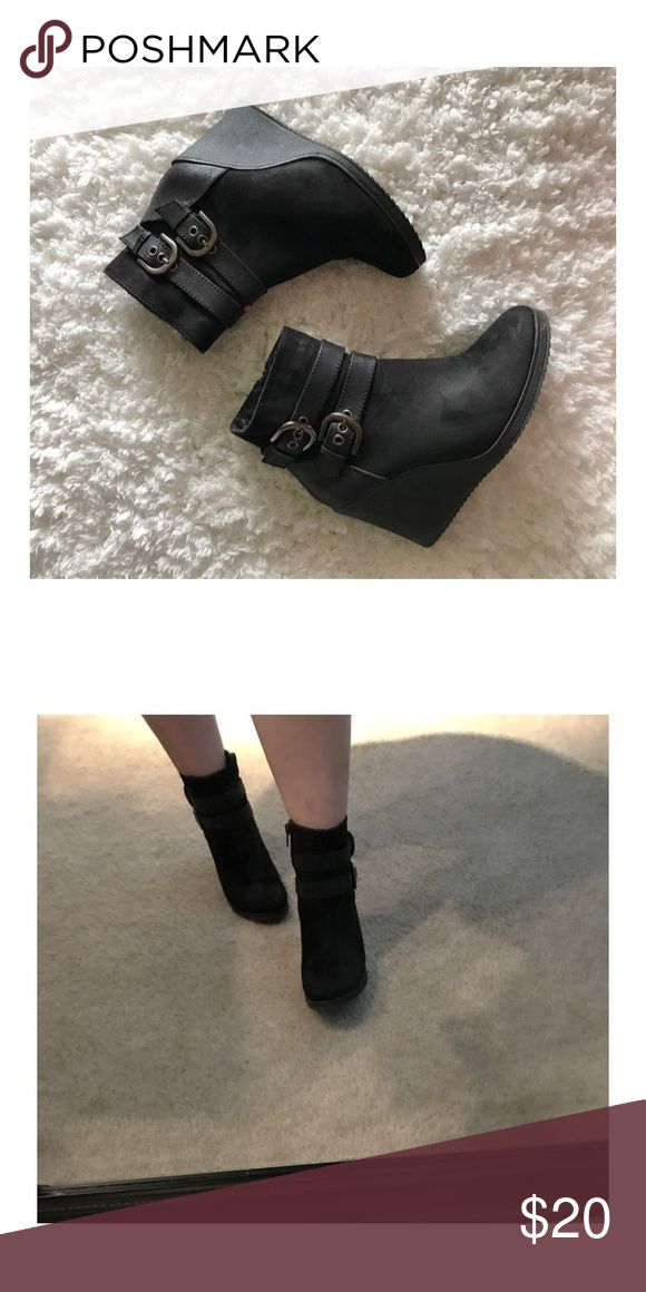 White mt black ankle bootie heels Cute comfortable suede bootie heels. Soles are soft and padded. Worn a few times but are in good condition. Shoes Ankle Boots & Booties
