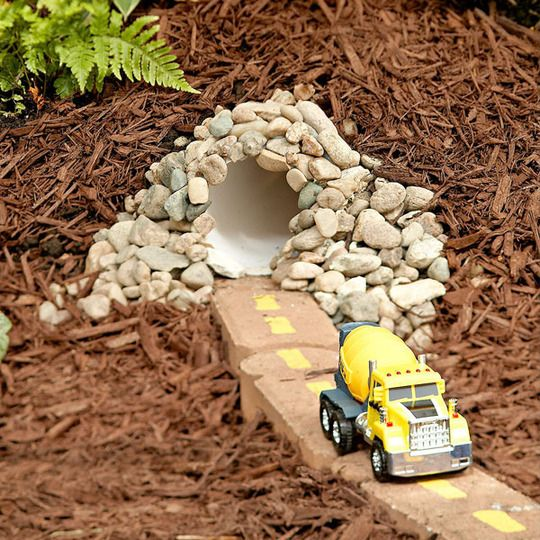 PVC tunnels & brick roads for outdoor play - so cool