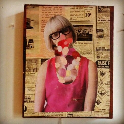 #collage #art by #jodiequakenbach $60 #face #mixedup #mashup #newspaper #paper #glue #fashion #bob #blonde #hair #bubbles #dots #colour